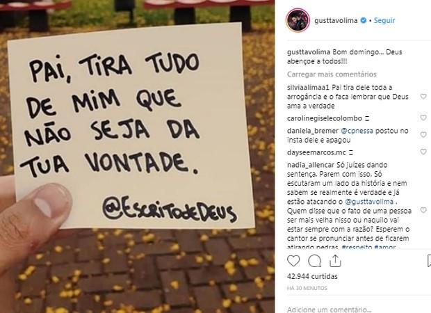 Gusttavo Lima evita comentar polêmica que se envolveu com Alexandre Pires e recorre a post religioso (Foto: Reprodução/Instagram)