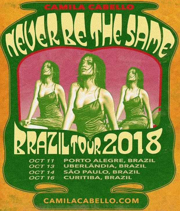 Cartaz da turnê brasileira de Camila Cabello (Foto: Reprodução/Instagram)