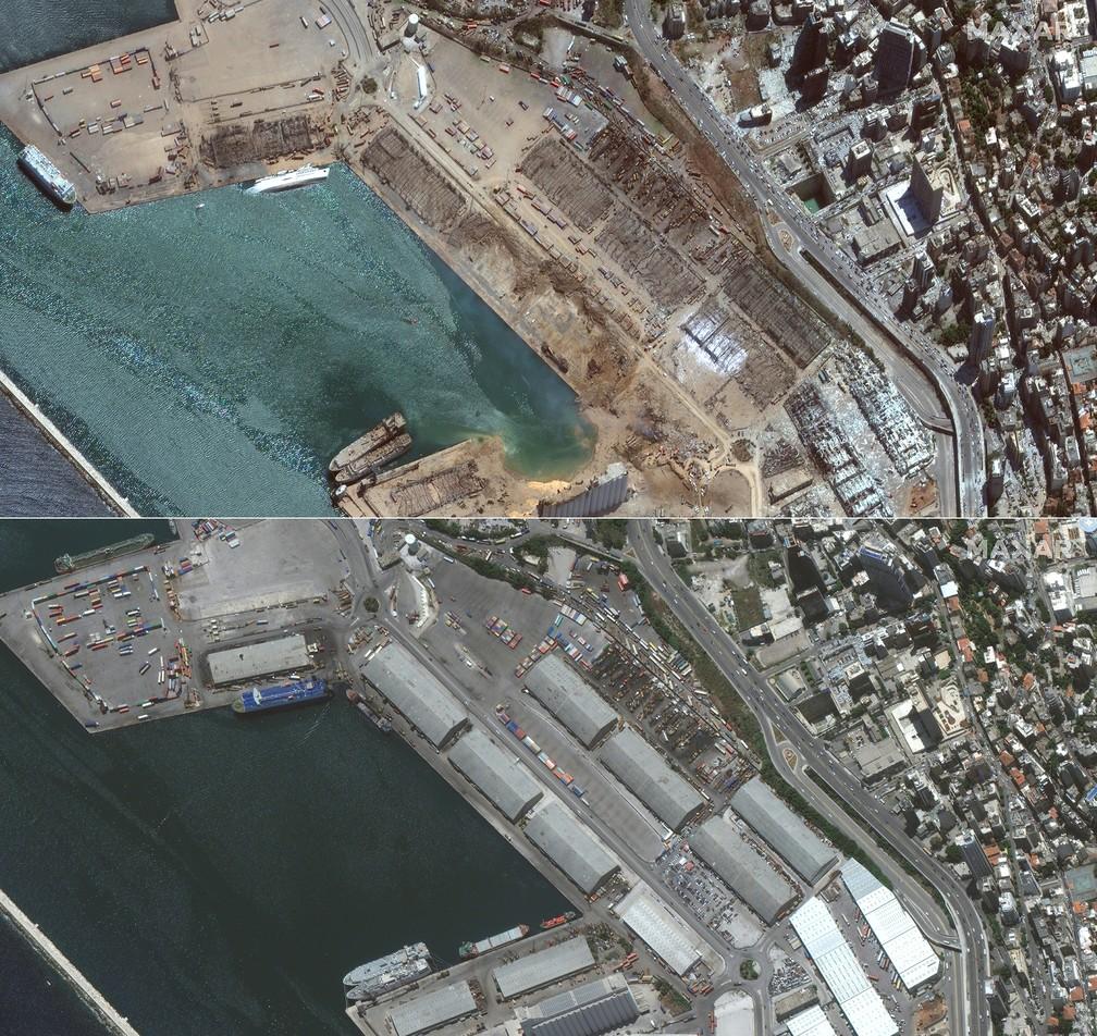 5 de agosto - Imagens de satélite obtidas por cortesia da Maxar Technologies mostram região portuária de Beirute após a explosão, em 5 de agosto, e antes, em 2 de junho de 2020 — Foto: Handout/Satellite image ©2020 Maxar Technologies/AFP