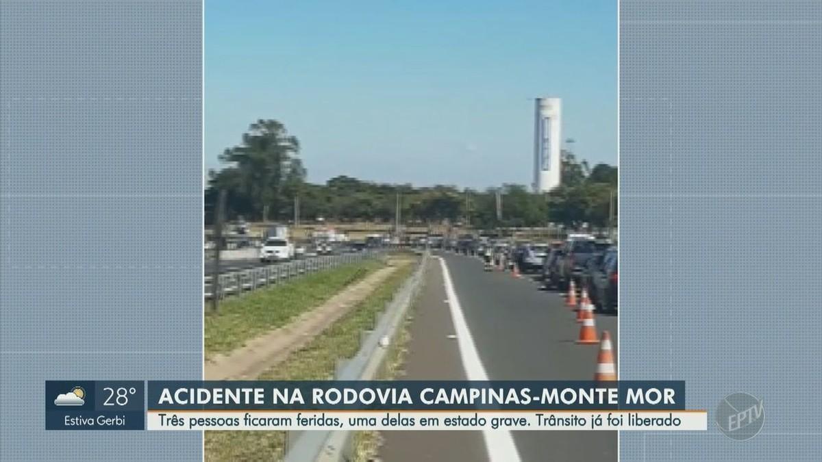 Motociclista atropela pedestres e três ficam feridos na Rodovia Campinas-Monte Mor