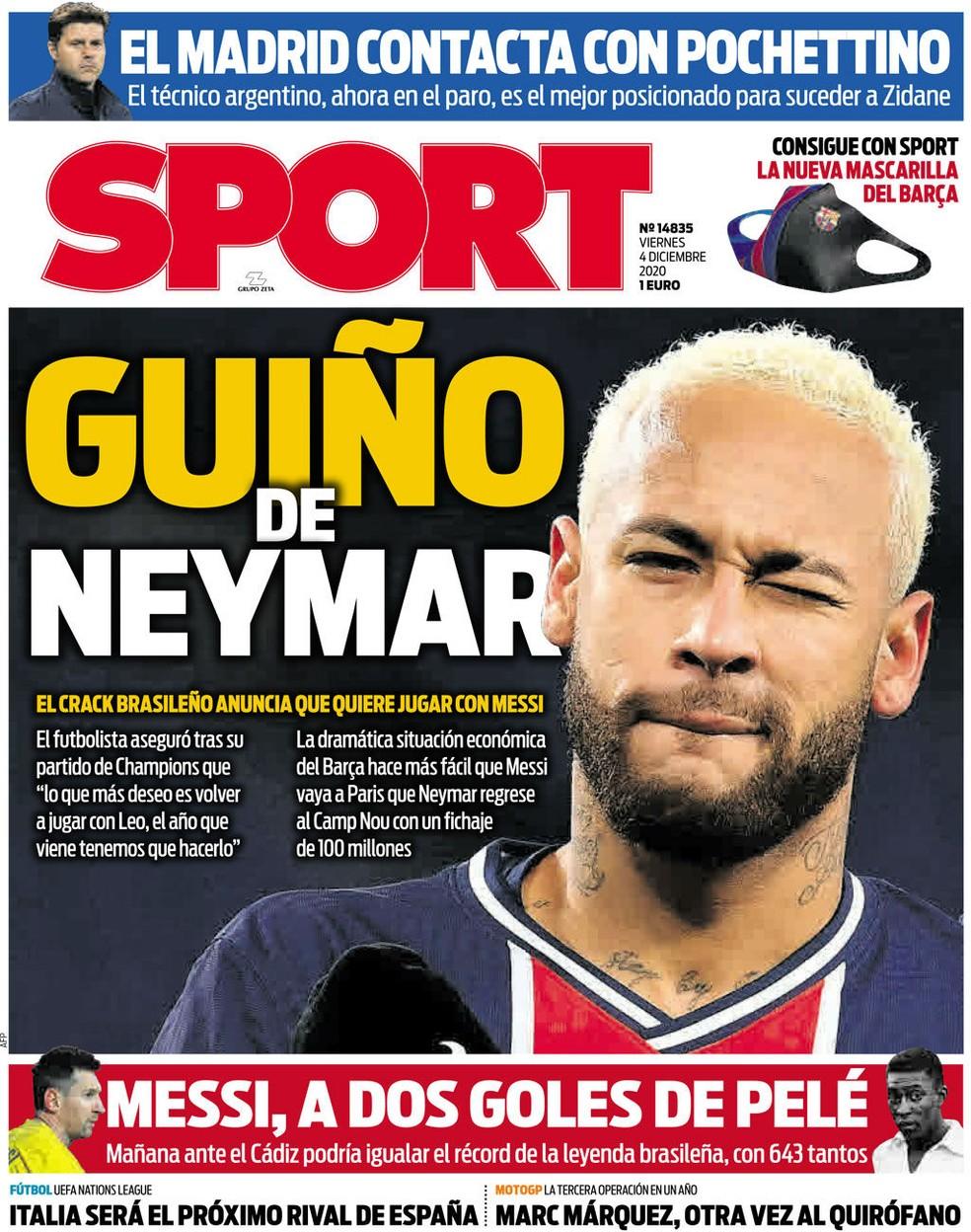 """Capa do """"Sport"""": """"Piscada de Neymar"""". Jornal admite que é difícil o Barcelona contratar o brasileiro — Foto: Reprodução/Sport"""