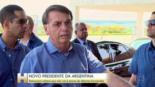 Bolsonaro reitera que não vai à posse de novo presidente da Argentina