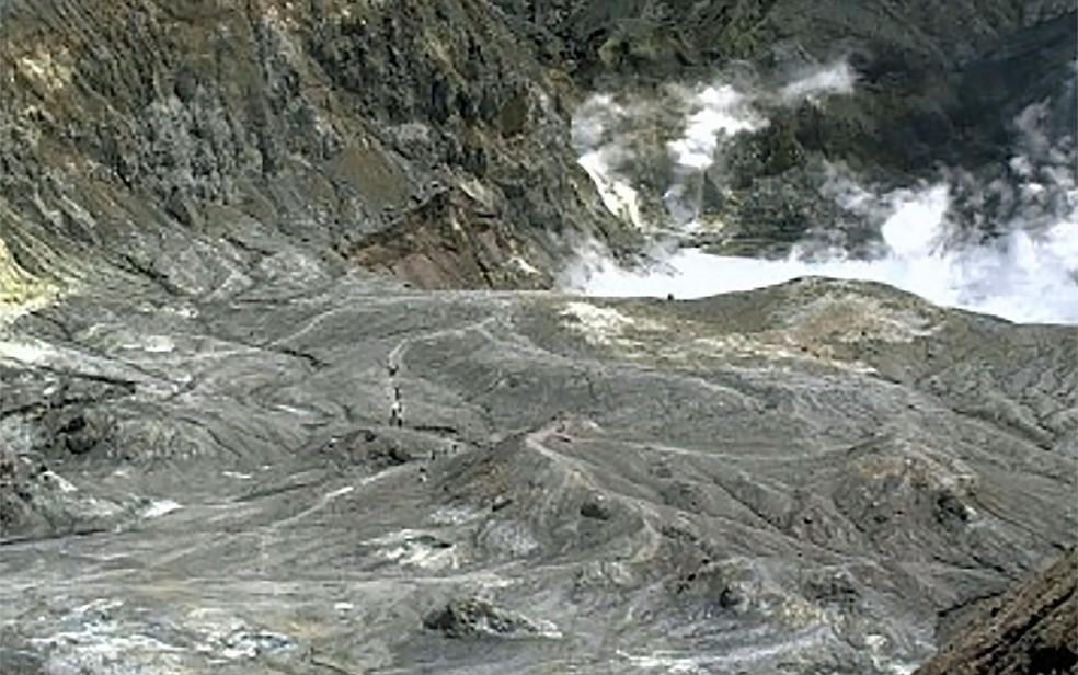 Imagem de turistas em trilha perto da cratera do vulcão da Ilha Branca — Foto: GeoNet / via AP Photo