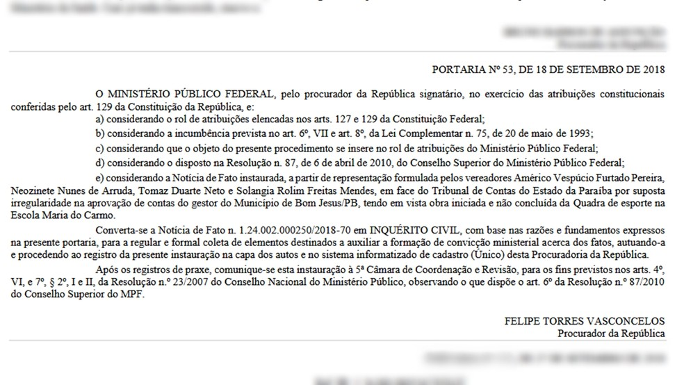 MPF publicou abertura de inquérito no Diário Eletrônico nesta terça-feira (16) — Foto: Reprodução
