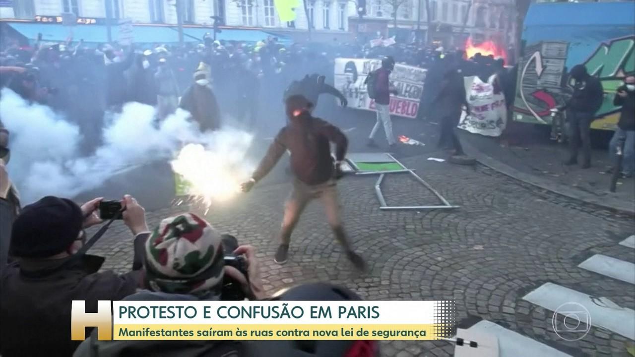 Protesto contra lei de segurança em Paris termina em confusão