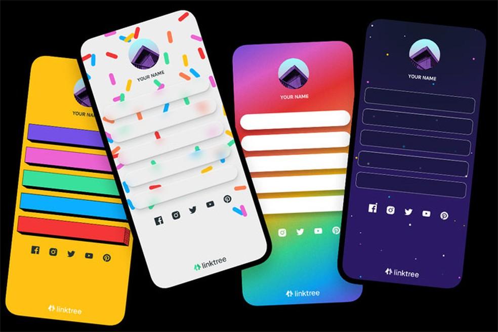 Linktree tem temas coloridos para quem é assinante — Foto: Reprodução/Pedro Cardoso