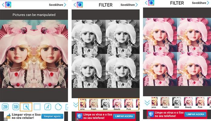 Aplique filtros nas imagens (Foto: Reprodução/Barbara Mannara)
