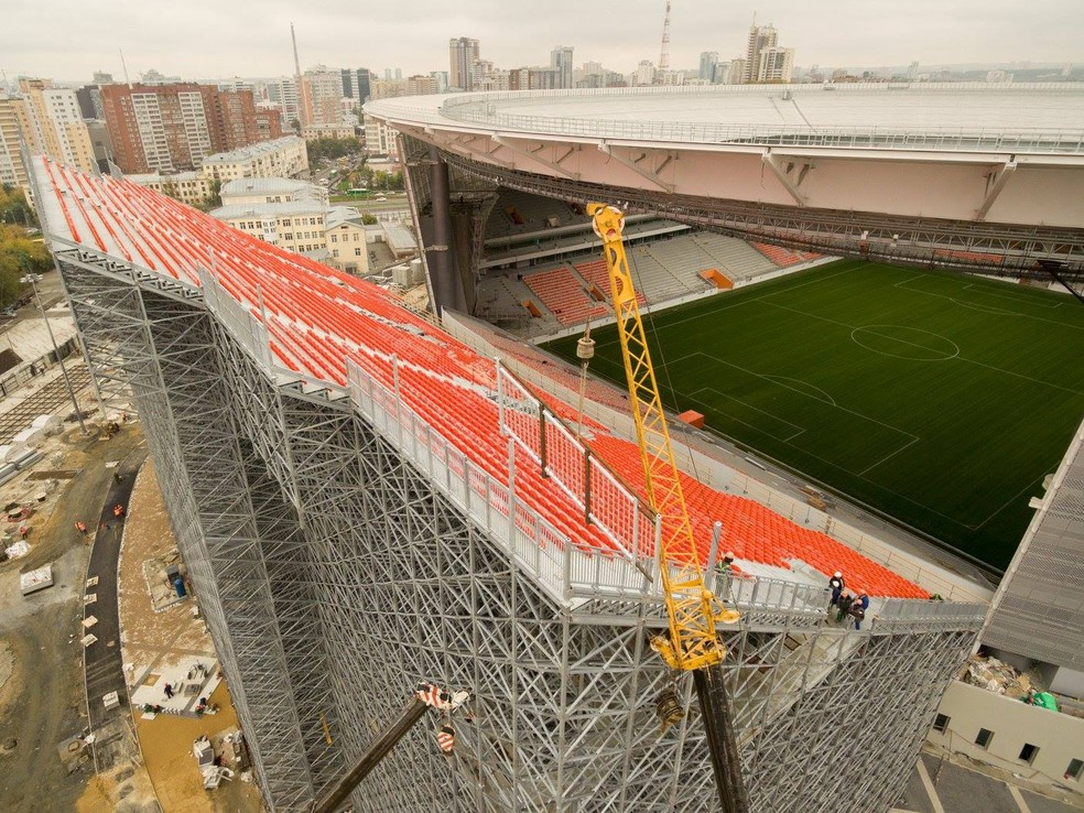 Setor deslocado do restante do estádio não possui cobertura nos pontos mais altos (Foto: Divulgação/Fifa.com)