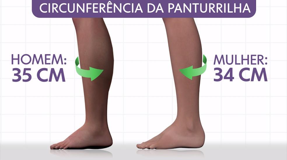 Valor de referência da circunferência da panturrilha — Foto: Arte/TV Globo