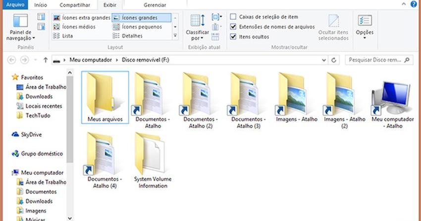 Como remover vírus que transforma arquivos do pen drive em atalhos