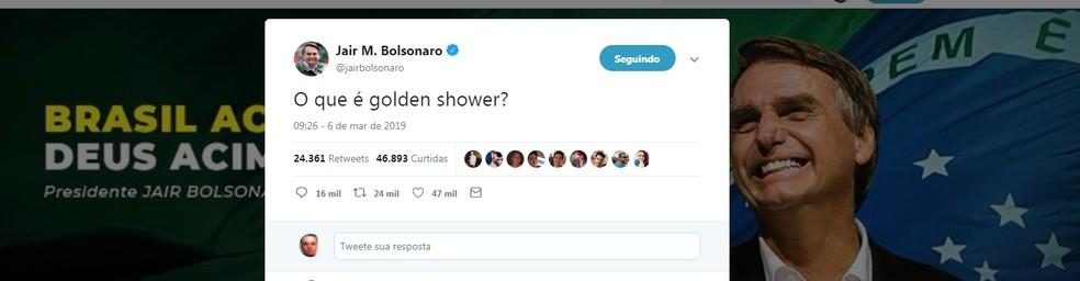 Bolsonaro faz postagem sobre golden shower, termo usado para definir relações sexuais envolvendo o ato de urinar no(a) parceiro(a). — Foto: Reprodução
