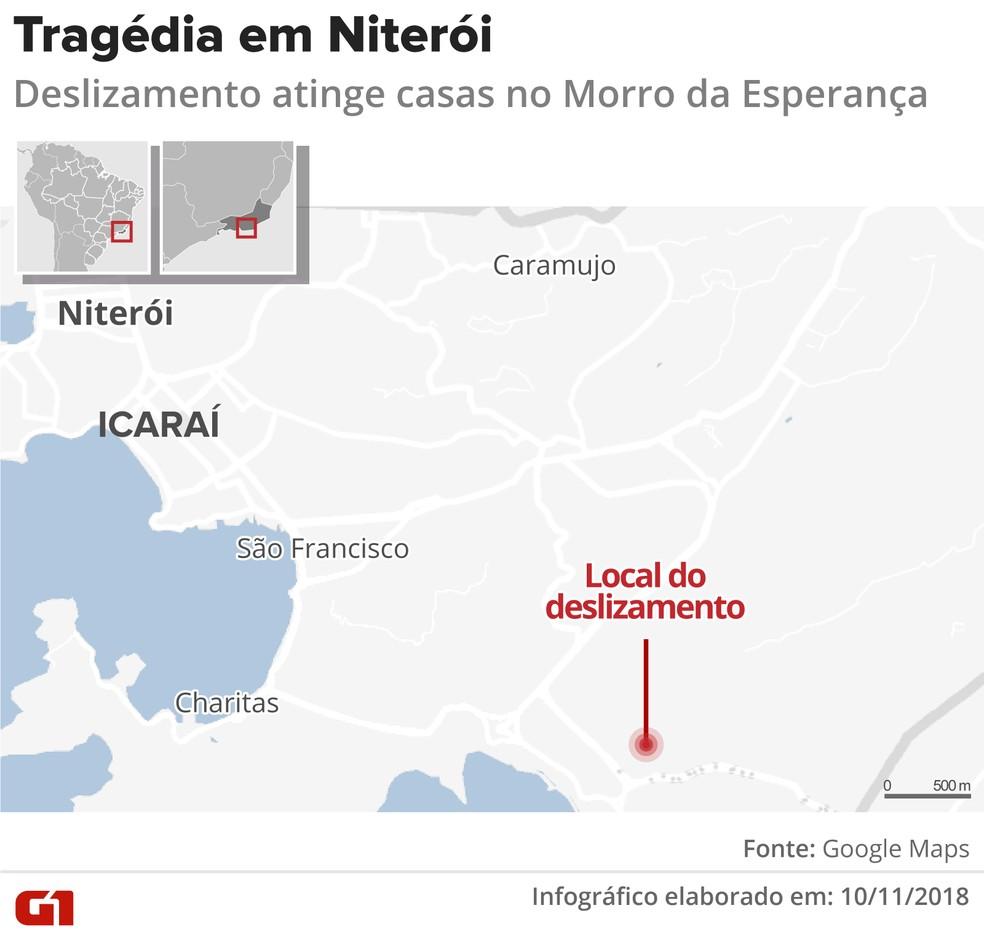 Arte mostra local onde ocorreu o deslizamento em Niterói — Foto: Roberta Jaworski/G1