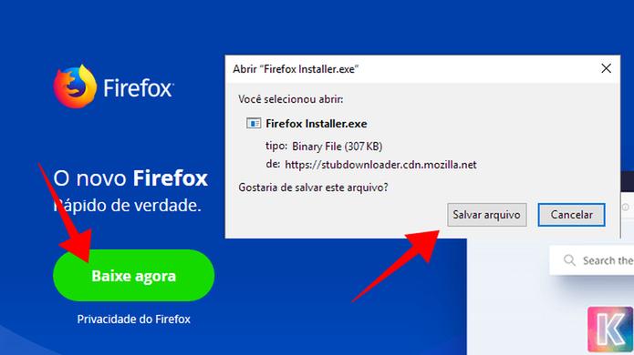 Baixe o instalador do Firefox no site da Mozilla (Foto: Reprodução/Paulo Alves)