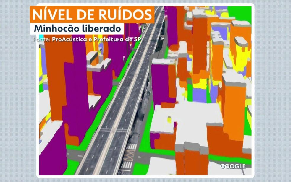 Mapa indica nível de ruído no Minhocão — Foto: TV Globo/Reprodução