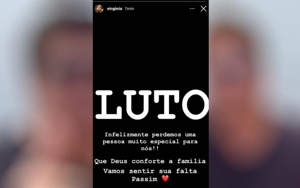 Virginia Fonseca, noiva de Zé Felipe, posta imagem de luto em rede social sobre morte do Passim — Foto: Reprodução/TV Anhanguera