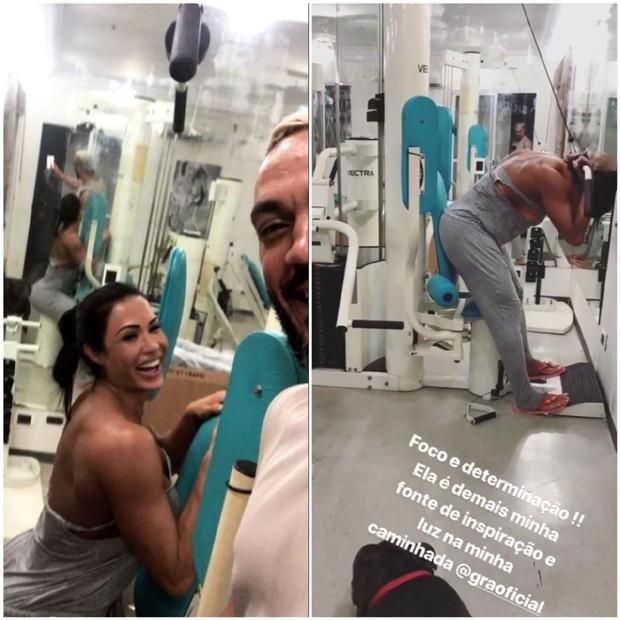 Gracyanne Barbosa e Belo treinando em casa (Foto: Reprodução/Instagram)