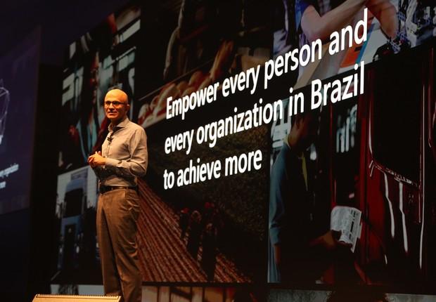 Satya Nadella, CEO da Microsoft, em apresentação no Brasil (Foto: Divulgação/Microsoft)