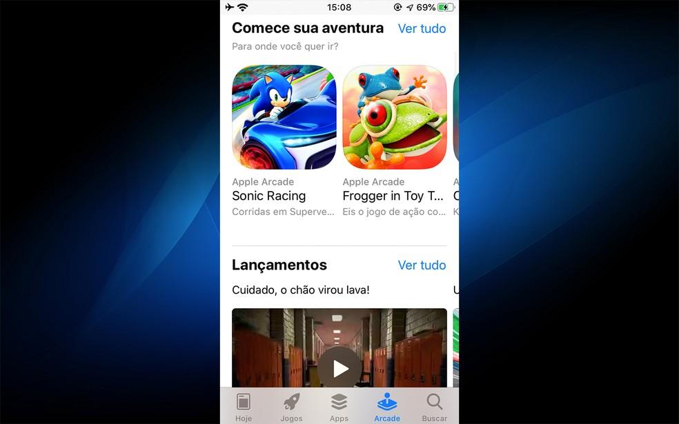 Apple Arcade requer iOS 13 no iPhone — Foto: Reprodução/Felipe Vinha