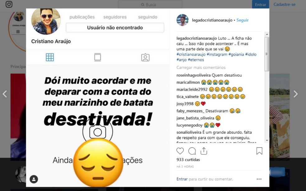 Fãs usaram a própria rede social para lamentar e pedir que a empresa libere o perfil como um memorial ao Cristiano Araújo — Foto: Reprodução/Instagram