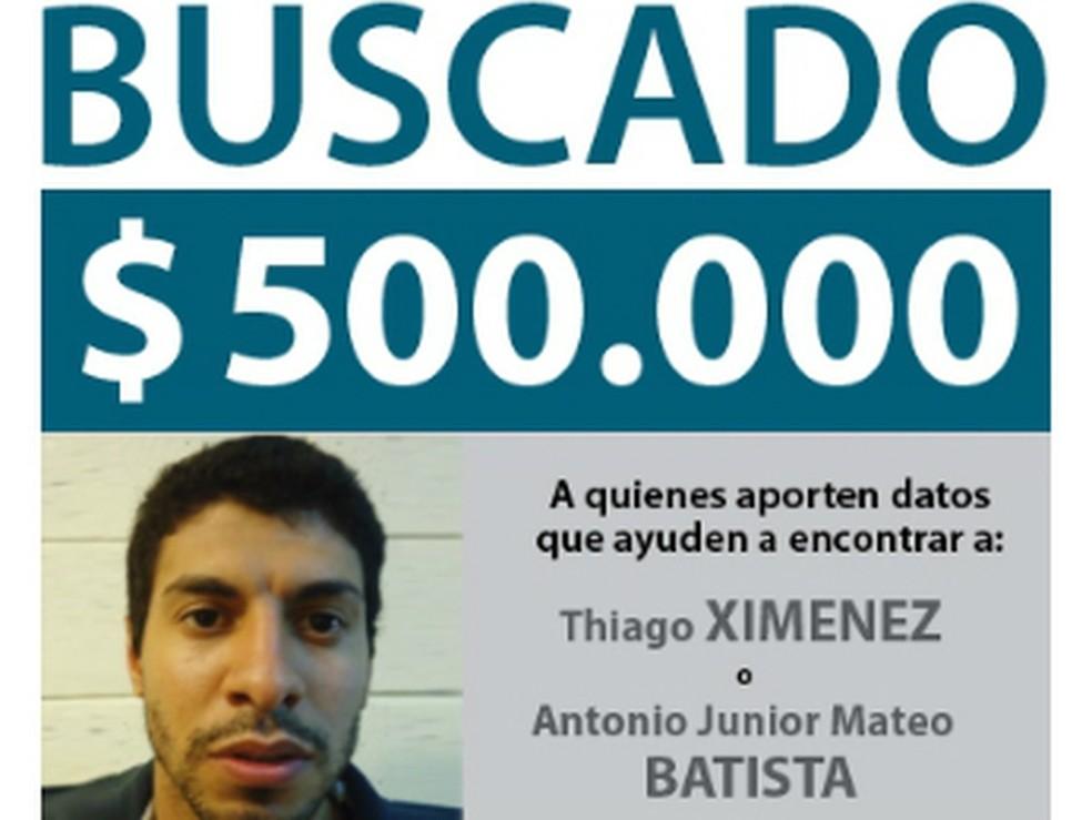Imagem de arquivo mostra Thiago Ximenez, que segue foragido da polícia paraguaia, em cartaz da polícia argentina — Foto: Reprodução