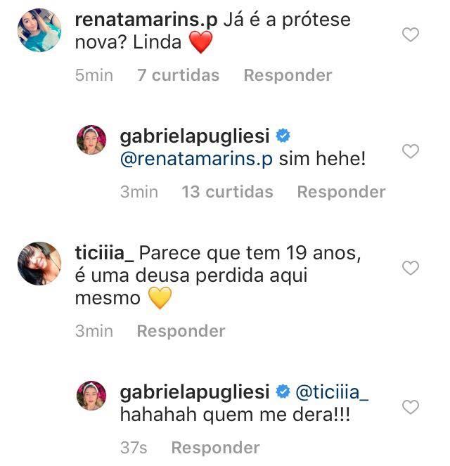Gabriela Pugliesi responde fã (Foto: Instagram/Reprodução)