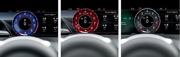 Jaguar F-Pace SVR  - Por meio de botões, é possível decidir entre os modos de condução Comfort (azul), Dinâmico (vermelho) e Eco ou Neve (brancos) (Foto: Christian Castanho)