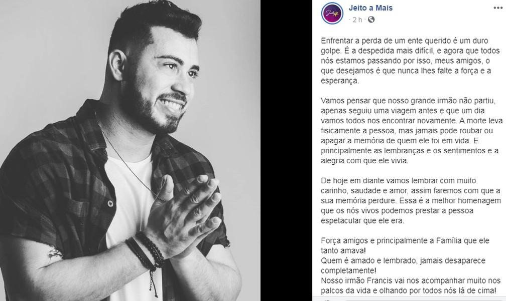 Banda se manifestou nas redes sociais sobre a morte do vocalista  — Foto: Reprodução/Facebook