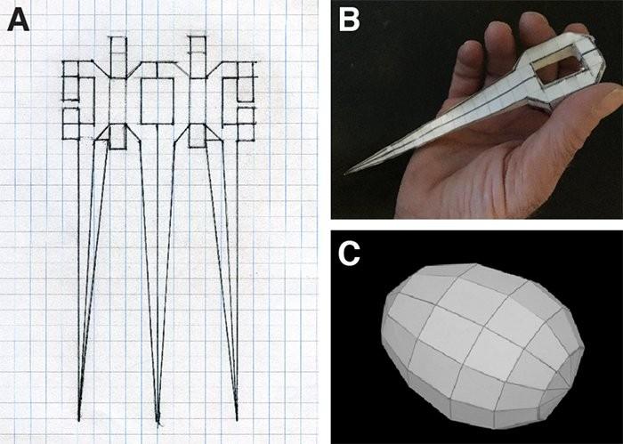 O artista Joe Davis criou duas peças em 3D para serem armazenadas no DNA do micro-organismo H. salinarum (Foto: Joe Davis / biorxiv.org)