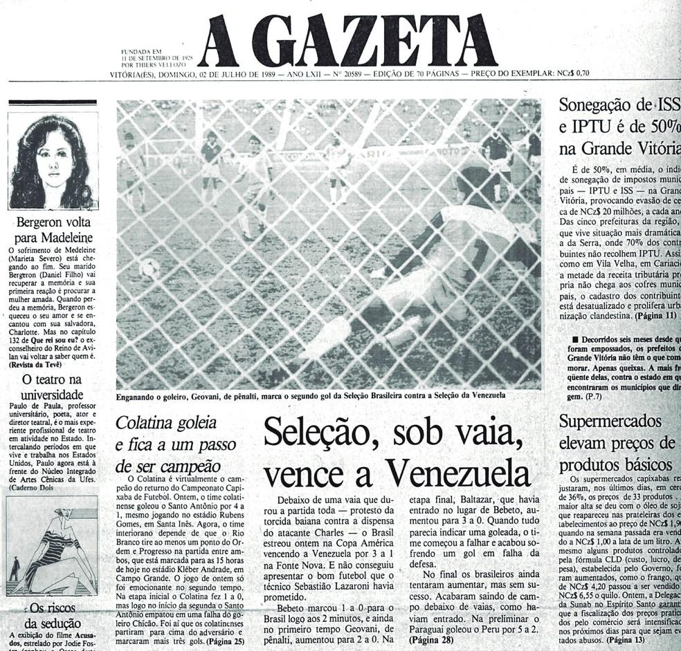 Gol de Geovani foi o destaque do Jornal A Gazeta do dia seguinte após a estreia — Foto: Reprodução/Cedoc/A Gazeta