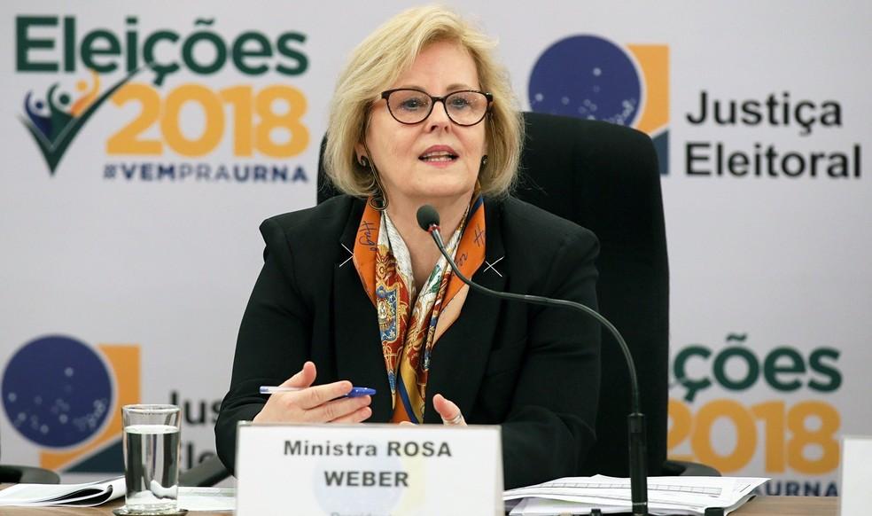A presidente do Tribunal Superior Eleitoral (TSE), ministra Rosa Weber, durante entrevista à imprensa no último dia 7 — Foto: Nelson Jr/Ascom/TSE