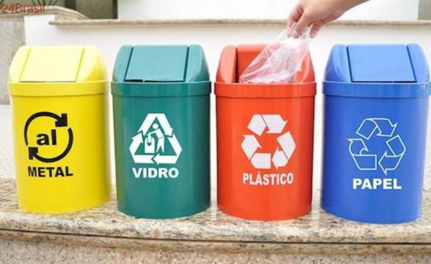 Instaladas por aí, as latinhas de lixo com sinais universais estimulam a coleta seletiva (Foto: Pinterest/Reprodução)