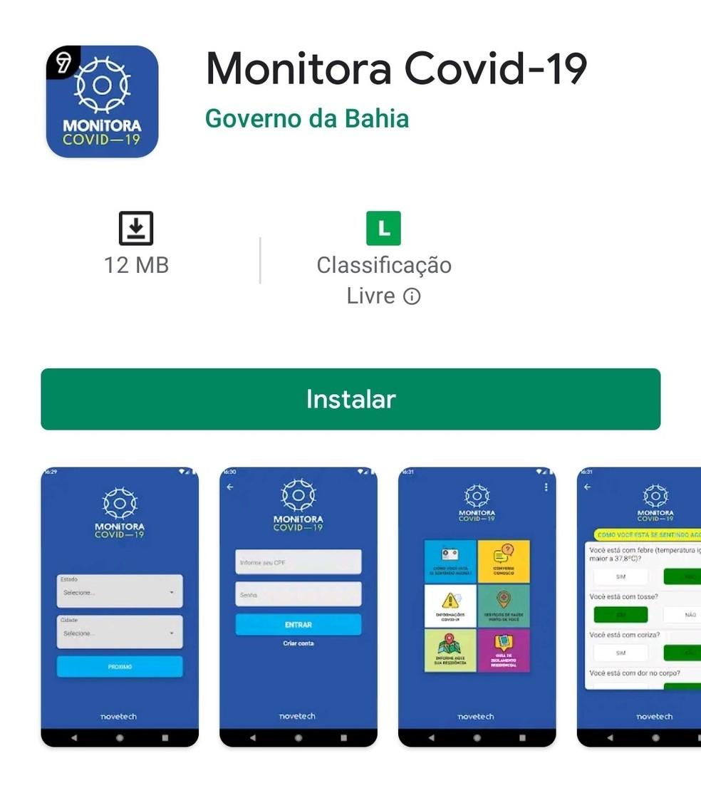 Aplicativo 'Monitora' foi lançado no dia 9 de abril.  — Foto: Divulgação
