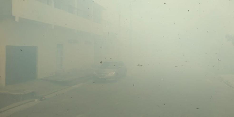 Ruas no entorno de área incendiada em Fortaleza são tomadas pela fumaça — Foto: Paulo Sadat/SVM