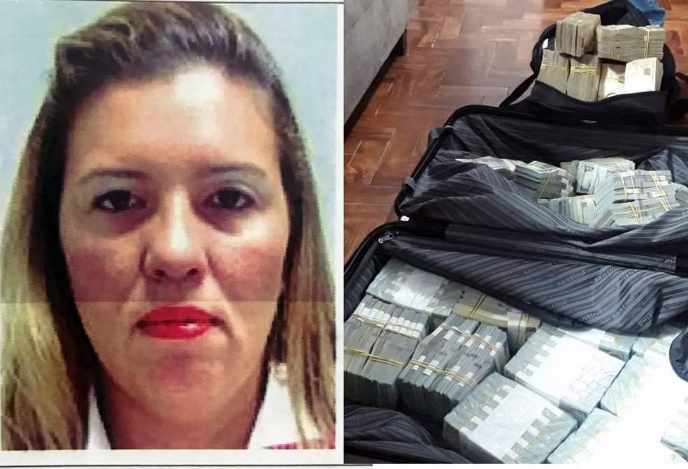 Karine de Oliveira Campos, de 40 anos, é apontada como líder da quadrilha — Foto: G1 Santos