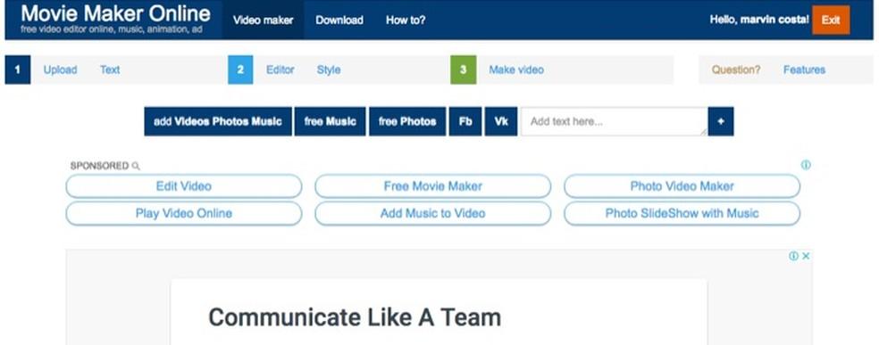 Serviço Movie Maker Online permite adicionar músicas, textos e imagens nos vídeos — Foto: Reprodução/Marvin Costa