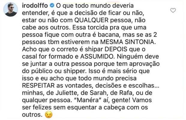 Rodolffo fala sobre 'shipper' com Juliette e Sarah (Foto: Reprodução / Instagram)