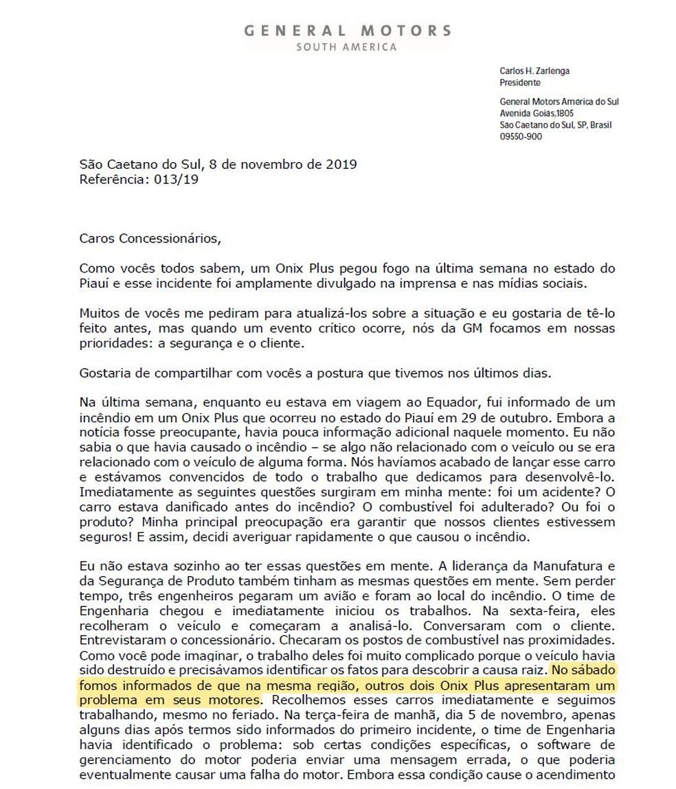 Comunicado enviado pelo presidente da GM, Carlos Zarlenga, aos concessionários — Foto: Reprodução