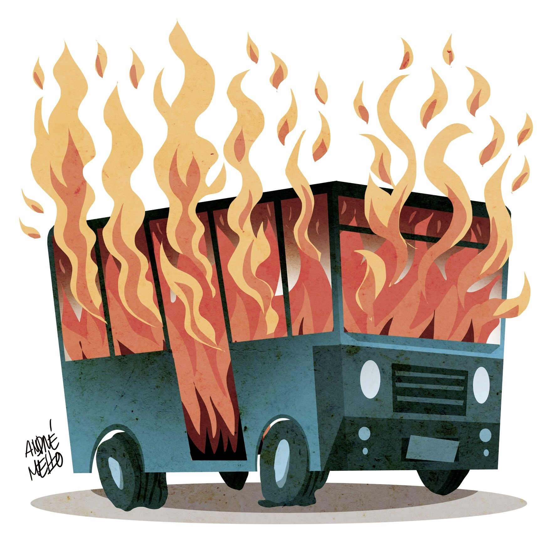 Ônibus em chamas