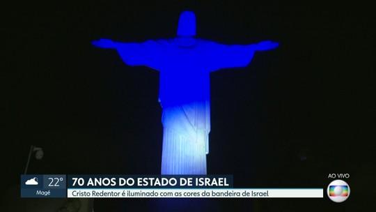 Cristo fica azul e branco em homenagem aos 70 anos de Israel