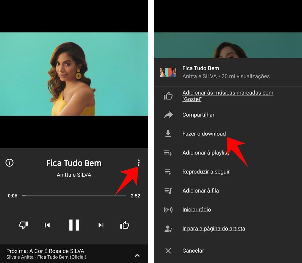 Fazendo o download de um vídeo no Youtube Music — Foto: Reprodução/Rodrigo Fernandes