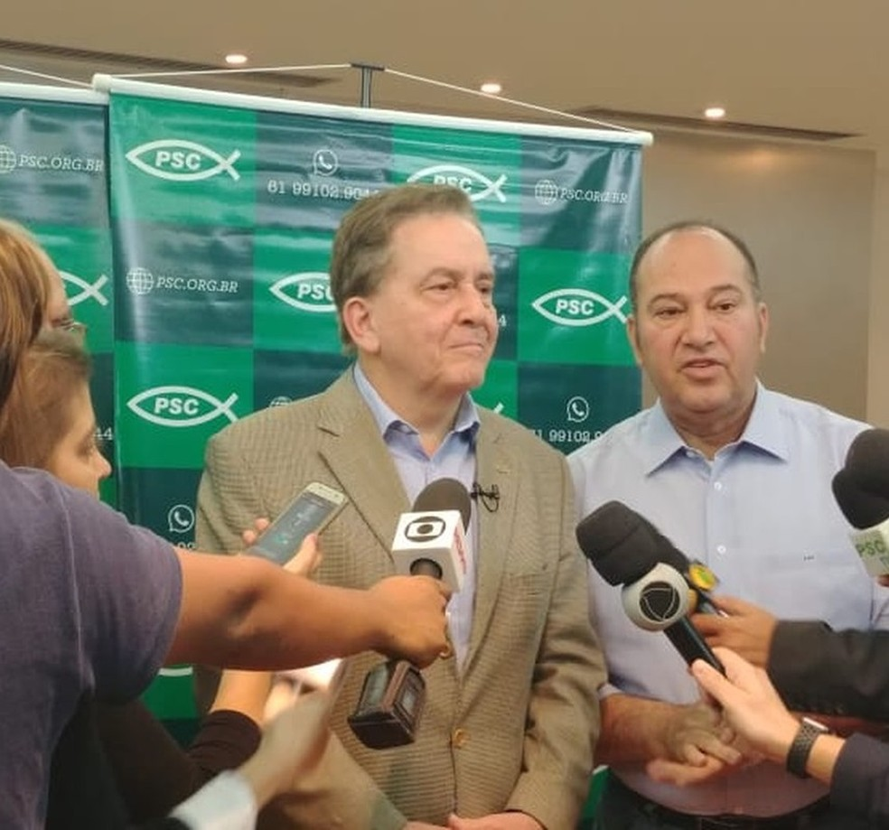 Paulo Rabello de Castro fala a jornalistas após convenção do PSC (Foto: Sara Resende/TV Globo)