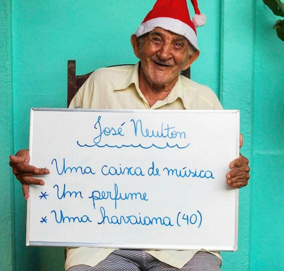 Caixa de som está entre os desejos do senhor José Newton — Foto: Divulgação/Thaína Pires