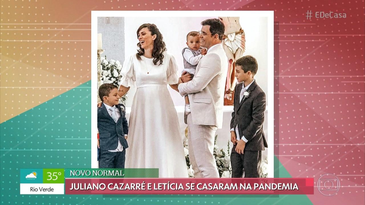 Juliano Cazarré e Letícia se casaram durante a pandemia