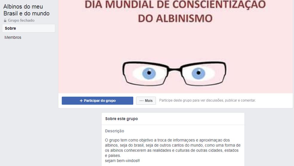 Grupo em rede social busca levar informação aos albinos e famílias  (Foto: Facebook/Reprodução)