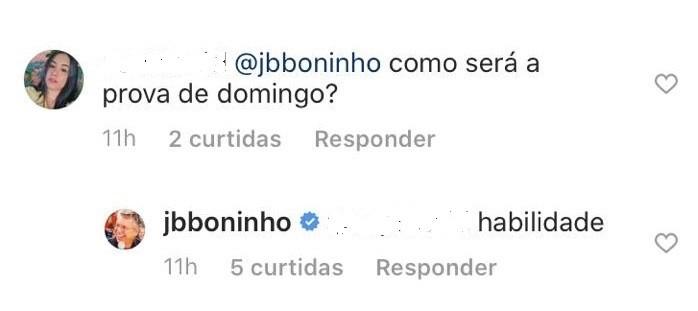 Boninho responde a seguidora nas redes sociais (Foto: Reprodução/ Twitter)