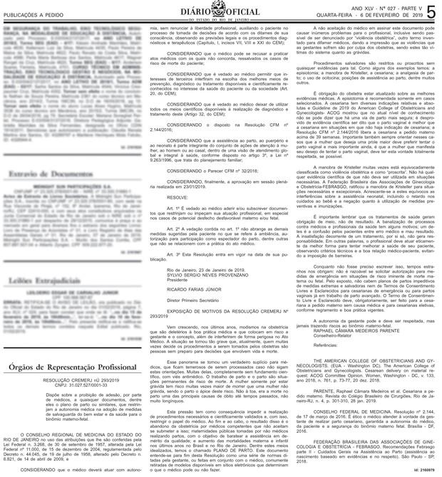 Resolução 239/2019 - Conselho Regional de Medicina (Foto: Reprodução)