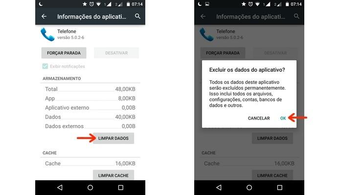 Limpeza de dados do app telefone (Foto: Reprodução/Raquel Freire)