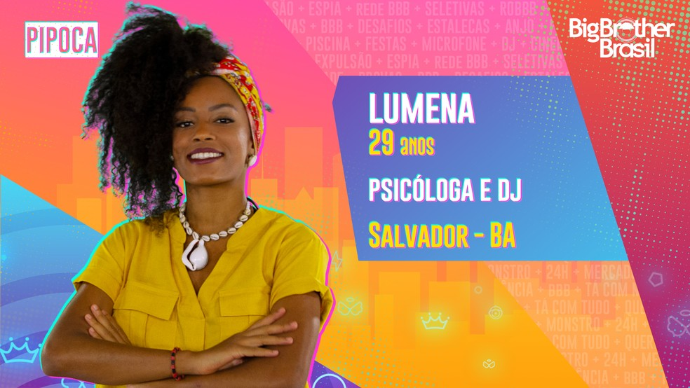 Lumena é participante do 'BBB21' — Foto: Divulgação/Globo