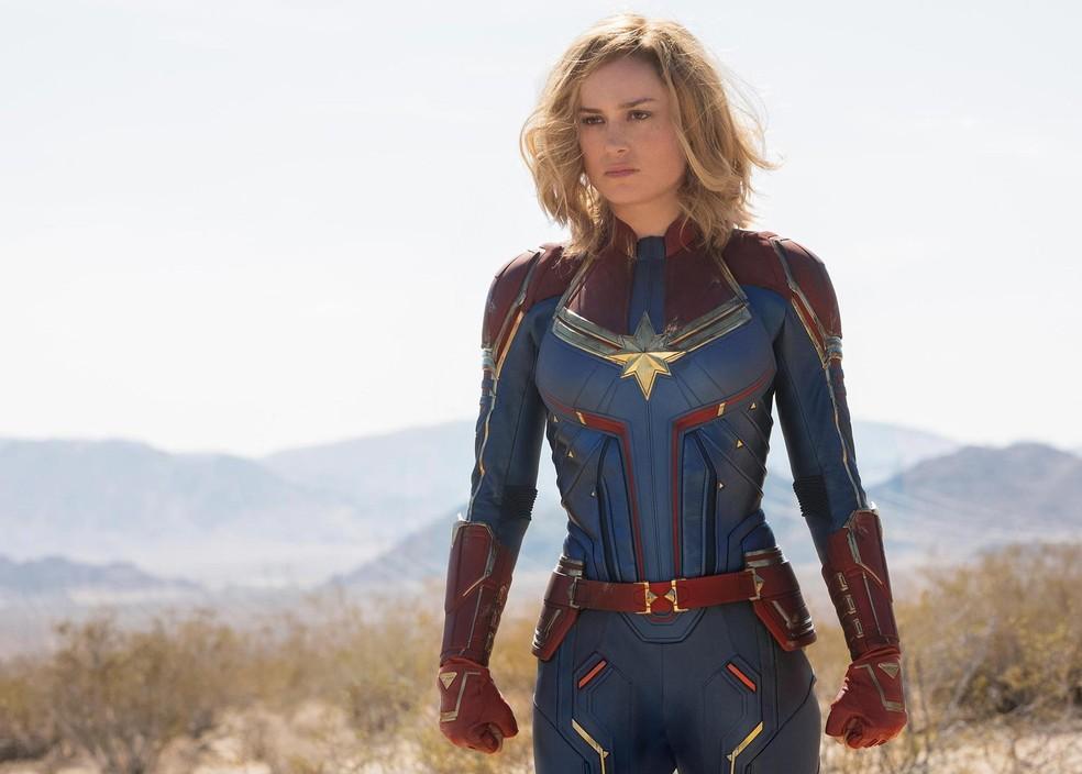 363749c83911b ... Brie Larson como a heroína de  Capitã Marvel  participa da Comic Con —  Foto