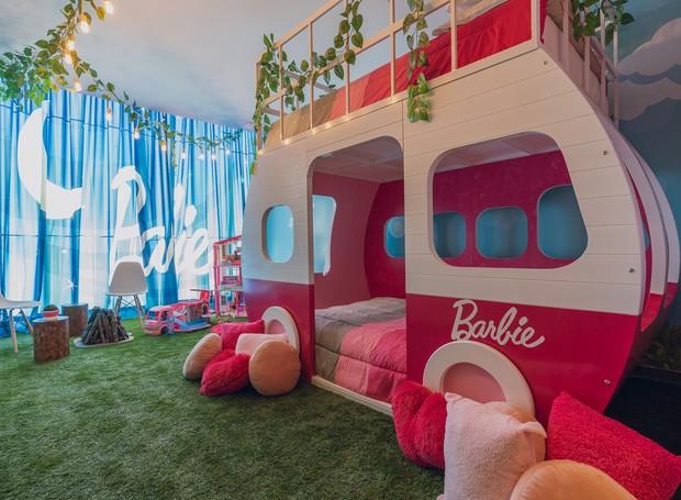 No hotel, as crianças podem dormir no trailer da Barbie, em tamanho real (Foto: Hilton Mexico City Santa Fé/ Reprodução)